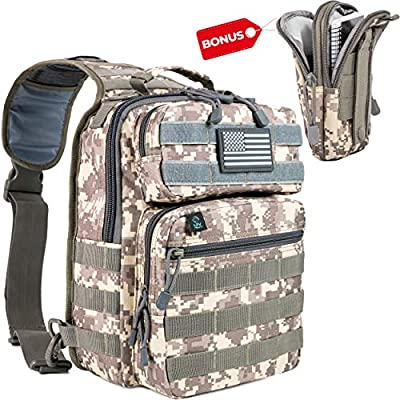 LPV PRODUCTS Army Tactical Backpack Molle | Sling Back Pack | Best Military Survival Gear for Men and Women - Range Shoulder Sling Bags - Small One Strap Bag for Hiking
