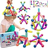COUOMOXA 42 Pieces Magnetic Building Sticks Blocks Toy, Stem Educational Construction Toys, 3D Magnet Building Puzzle Toys Gift for Kids and Toddler
