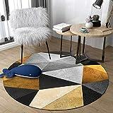 WJW-DT Tapis de Tapis Rond Jaune Gris Beige Noir pour Salon Chambre couloirs Style géométrique diamètre 80100120140160180200 cm-200cm