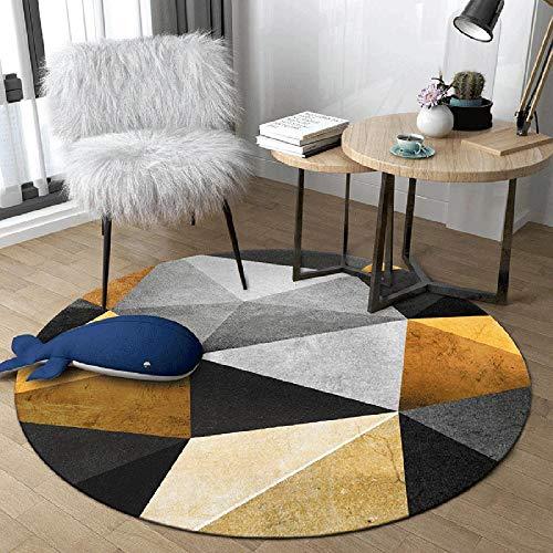 WJW-DT Amarillo Beige Gris Negro Alfombra Redonda Alfombras para Sala de Estar Dormitorio Pasillos Estilo geométrico Diámetro 80100120140160180200 cm-El 120cm