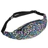 Sports Hiking Running Belt Waist Bag,Fashion Travel Fanny Bag Super Lightweight For Travel Waist Pack (Color skull)