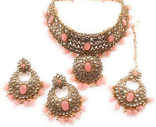 Indian Padmavat - Juego de gargantilla para boda, diseño de bollywood, estilo étnico, nupcial, chapado en oro, color rosa