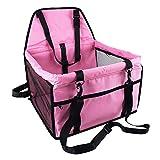 Caidi - Asiento auxiliar de coche para perro, funda de asiento impermeable transpirable con correa de seguridad, pequeña bolsa de transporte de coche de viaje de cachorro de perro rosa