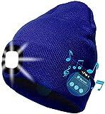 ATNKE LED Iluminado Bluetooth Beanie Cap, USB Recargable inalámbrico Musical Running Hat Ultra Brillante 4 LED Lámpara de luz Impermeable Uso para Esquiar Senderismo Camping Ciclismo (Azul)