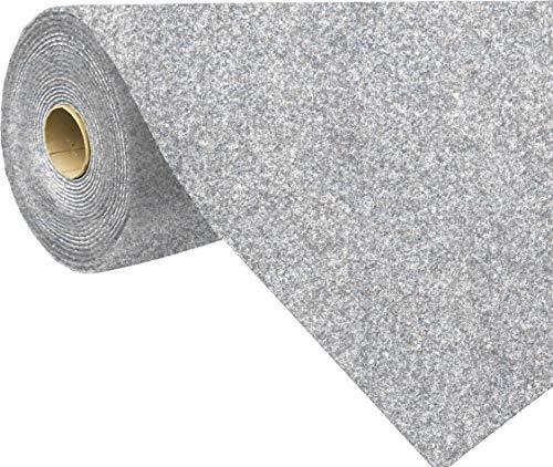 havatex Rasenteppich Kunstrasen mit Noppen 1.550 g/m² - Rot Blau Grau Braun Beige oder Anthrazit | Meterware | wasserdurchlässig | Balkon Terrasse Camping, Farbe:Grau-Blau, Größe:133 x 300 cm
