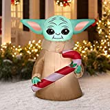ZINE Navidad inflables Santa Claus, 5ft Tall Star Wars The Mandalorian The Child Baby Yoda Holding Candy Cane Christmas Airblown Inflable Decoración Interior/Exterior