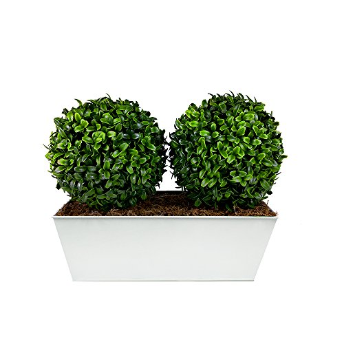 GreenBrokers Künstliche Double Buchsbaum Formschnitt Bälle–Weiß Tin Blumenkasten (35cm)