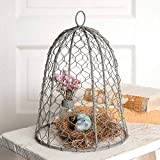 """Colonial Tin Works 840045T Chicken Wire 10"""" Cloche Metal Rustic Farmhouse Gray"""