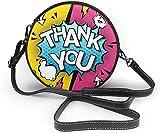 BAODANLA Bolso redondo mujer Thank You Super Hero Women Soft Leather Round Shoulder Bag Zipper Circle Purses Sling Bag