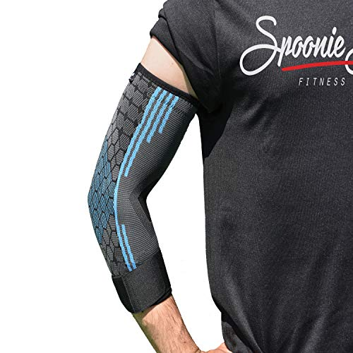 Spoonie Sports FITNESS PRODUCTS 𝐒𝐩𝐨𝐨𝐧𝐢𝐞 𝐒𝐩𝐨𝐫𝐭𝐬® - Ellenbogenbandage mit Klettverschluss | Sportbandage für Herren & Damen | ideale für Arbeit, Sport, Freizeit (L)