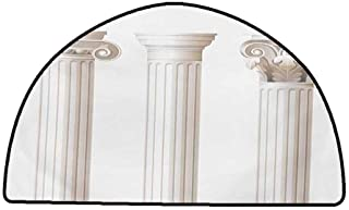 Kitchen Doormat Pillar,Architecture Themed Design Ionic Doric and Corinthian Marble Columns Digital Print,Coconut,W31 x L20 Half Round Rugs for Bedroom