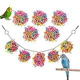 Pawaboo Juguete Masticar de Pájaro, Juguetes para Columpios de Loros y Pájaros con Bolas de Ratán de Papel Colorido, Jaula de Pájaros, Hamaca, Columpio para Pájaros Pequeños Periquitos