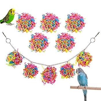 Pawaboo Jouet Oiseau, Boules de Rotin 10 Pcs en Papier Coloré Balançoires, Ensemble de Jouet de Oiseau à Suspendre de Bricolage pour Oiseaux, perroquets, perruches, Aras, Oiseaux inséparables, Coloré