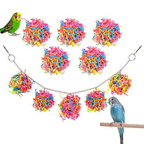 Pawaboo Vogelspielzeug, Papagei Sittiche Vogel Kauen Spielzeug Rattan Bälle mit Stroh Papier, Vogelkäfig Schaukel Sitzstange Hängematte für Papageien Nymphensittiche Wellensittich Kakadu - Bunt
