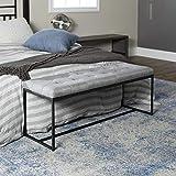 Walker Edison Modern Tufted Upholstered Entryway Cushion Hallway Metal Bedroom Bench Ottoman, Grey