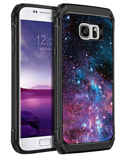 Galaxy S7 Case, BENTOBEN 2 in 1 Dual Layer Slim Hybrid Soft Bumper Hard PC Space Nebula Pattern Design Cover Heavy Duty Shockproof Protective Phone Case for Samsung Galaxy S7 (G930)-Purple/Balck