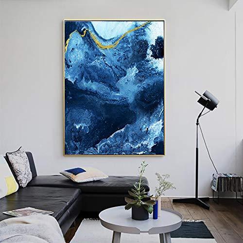 Scandinavisch affiche en canvasdruk muurkunst abstract oceaan muurschildering, frameloze schilderij voor woonkamer wooncultuur 60cmX90cm
