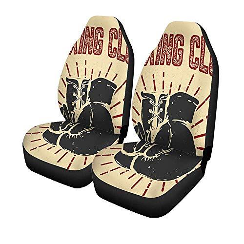 2 stuks autostoelbeschermhandschoenen Sketch Club boxen op embleem badge zetels Boxer Universal auto voorbescherming 14 – 17 inch
