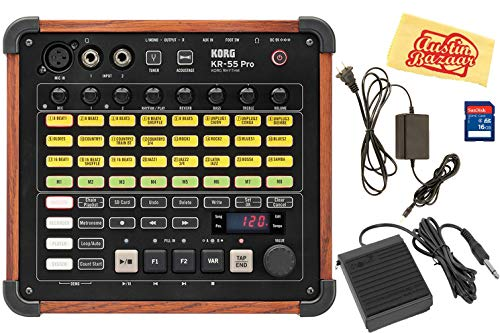 Best Price Korg KR-55 Pro Drum Machine Bundle with Footswitch, AUX Cable, SD Card, and Austin Bazaar...