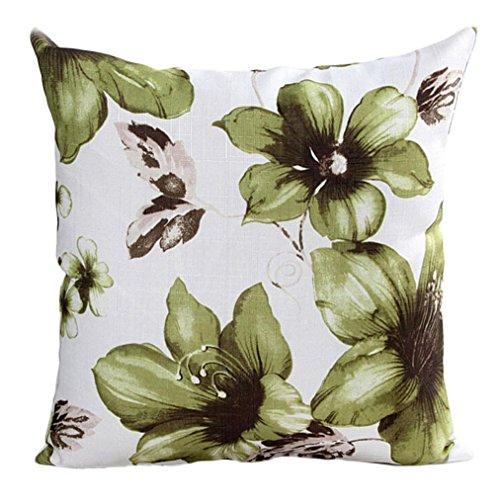 Han Shi Christmas Pillowcase, Flowers Print Sofa Bed Home Decor Pillowslip Cushion Cover (Green, L)