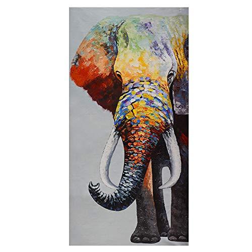 Gymqian Elefante Colorido Africano Lienzo Pintura Carteles e Impresiones Animales Salvajes Cuadro de Arte de Pared para Sala de Estar decoración del hogar 50x100cm sin Marco