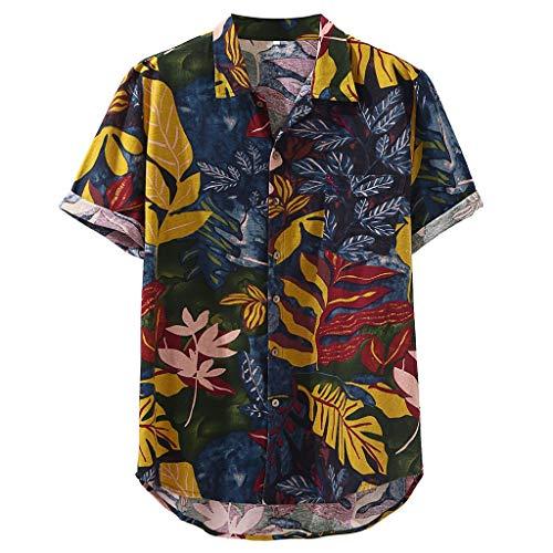 Berimaterry Polos Manga Corta Básico Botones Camisa Hawaiana Hombre Camiseta Fruta Floral Tops Bohemia Raya Playa de...