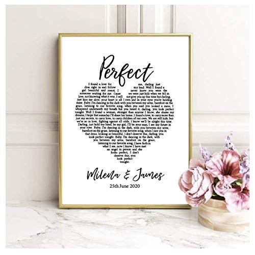 nr Perfect Lyrics gepersonaliseerde liefde canvas schilderij afbeelding bruiloftsdecoratie, aangepaste naam en datum poster print-42x60cmx1 zonder lijst