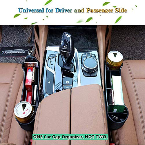 SUNMORN Car Seat Organizer, Front Seat Gap Filler, Multifunctional with Small Storage Box, Premium PU Leather, Suitable for Most Car (Black)