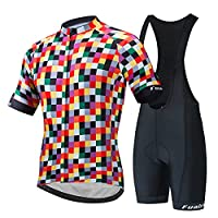 メンズサイクリングジャージ半袖サイクリング服3Dゲルパッド入りビブショーツ通気性自転車コンボ衣料品セット夏レースバイク Style 1-XL