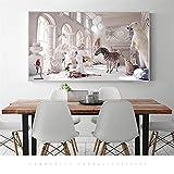 Cuadros de pared para sala de estar creados con dibujos animados León caballo cebra pintura sobre lienzo carteles e impresiones decoración del hogar sin marco 40 * 80Cm