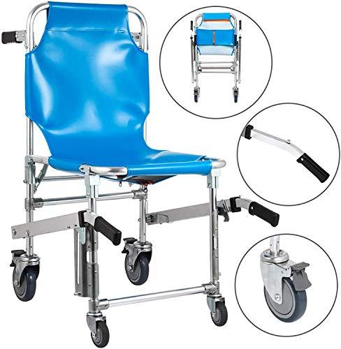 GLJY Treppenstuhl, EMS £ 350 Evakuierung Treppenstuhl 4 Räder Treppensteigstuhl 3 verstellbare Entriegelungsschnallen Sessellifte für Treppen Aluminium geringes Gewicht