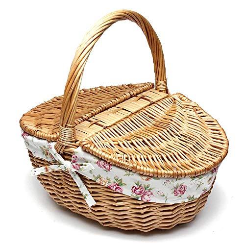 Viner rieten wilgen picknickmand belemmert winkelen Vintage mand met deksel en handvat tot om te winkelen