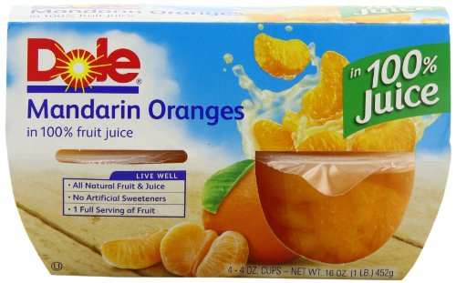 DOLE FRUIT BOWLS Mandarin Oranges in Juice, 4 Cups (6 Pack)