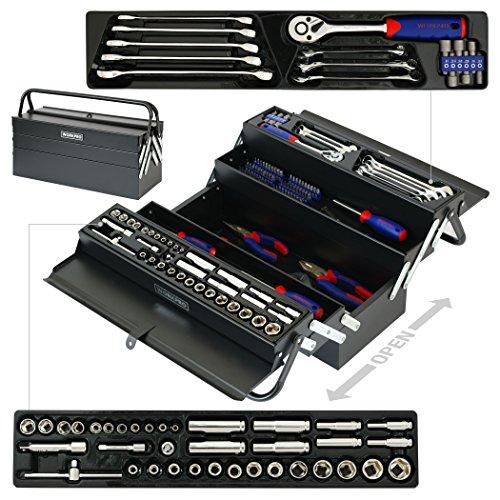 SISHUINIANHUA 183PC-Werkzeug-Set Start-Tool-Kits Mechaniker-Werkzeug-Set Schraubendreher Ratschenschlüssel Wrench Set Sockel Zange
