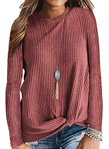 Womens Pullover Sweaters Winter Fall Tunic Tops Cute Waffle Knit Mauve L
