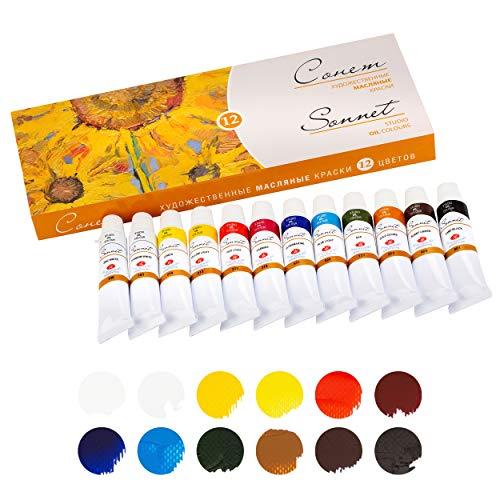 Sonnet Artistic Ölfarben Set | Hochwertige 12x10ml Öl Farben | Öl Malfarben Set von Nevskaya Palitra