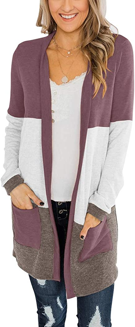 Bingerlily Womens Casual Open Front Cardigans Color Block Long Sleeve Loose Knit Lightweight Outerwear with Pocket