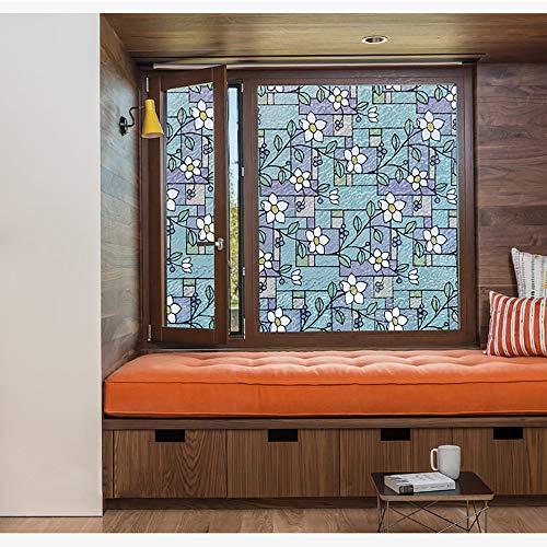 Zelfklevende raambeschermingsfolie, zichtwerende folie, raamfolie, statische raamfolie, raamfolie, statische hechting, klassiek bloemenpatroon 200×30cm/78×11in blauw