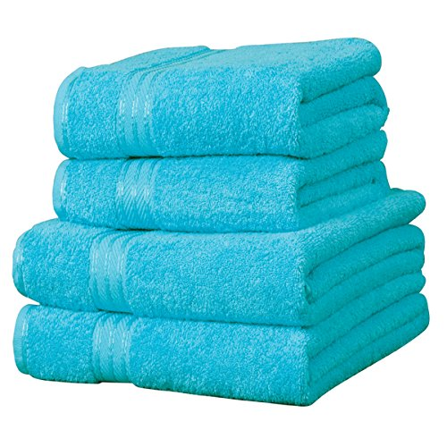 Linens Limited Supreme - Handtuch-Set - 100% ägyptische Baumwolle - 4-teilig - Blaugrün