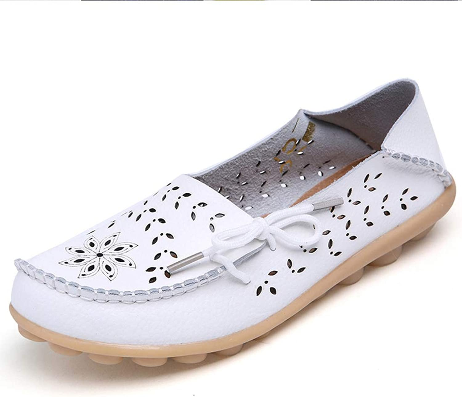 T-JULY Big Size Spring Women Flats shoes Genuine Leather Flats Ladies shoes Girl Cutout Slip on Ballet Flat Loafers