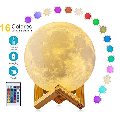 WZTO Lampara Luna 15 cm, 16 Colores Luz de Noche en 3D Control Táctil Brillo con Puerto de Carga USB, Decoración para Casa, Habitación, Regalo para Cumpleaños, Año Nuevo y...