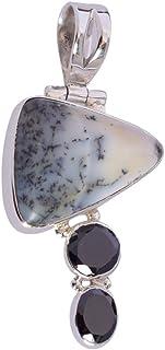 Ravishing Impressions Jewellery Colgante de ágata dendrítica y ónix negro piedra preciosa 925 sólida plata esterlina colga...