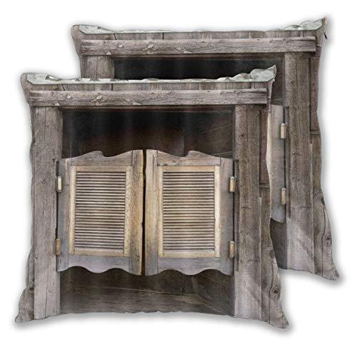WINCAN Juego de 2 Decorativo Funda de Cojín Puerta de Madera 3D Old Western Theme Puertas de salón batientes Print Farm Funda de Almohada Cuadrado para Sofá Cama Decoración para Hogar,50x50cm