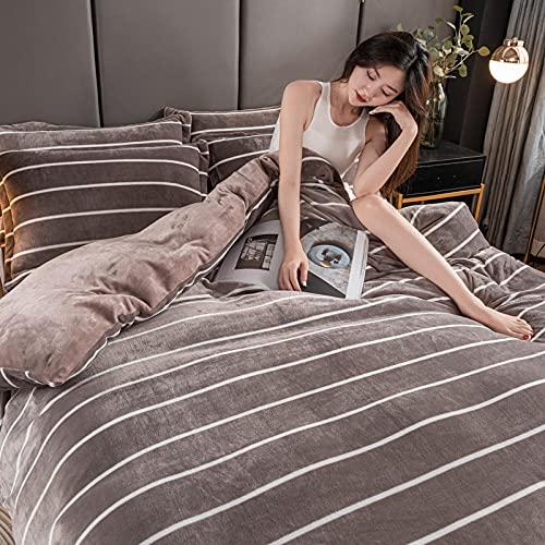 Exlcellexngce Funda NóRdica Funda De Colcha 150 Cm,法兰绒冬季床上用品双面加厚天鹅绒被套儿童单双人大号床单枕套4件-Mi_Cama De 2.0m (4pcs)