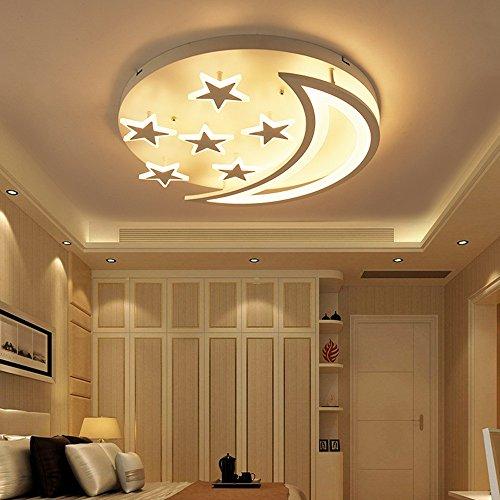 Star Moon LED Plafonnier Simple Moderne Plafonnier Garçons Filles Enfants Chambre Living Lights (Color : Warm white)
