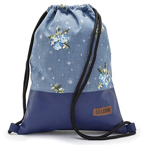 By Bers LEON Turnbeutel mit Innentaschen Rucksack Tasche Damen Herren & Teenager Gym Bag Draw String (blauer_Blumenstrauss)