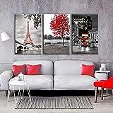 FGVBWE4R Lienzo Arte de la Pared Marco de Fotos decoración para el hogar Sala de Cartel 3 Piezas de París Moderno Torre Eiffel Coche Rojo Arce Paisaje Pinturas-S