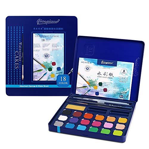 Kids Watercolor Paint Set, 18 Vibrant Colors Paint Kits, Art Supplies Painting Gifts for Adult, Teenager, Artists, Paint Supplies with Watercolor Paint Brush Pens, Palette, and Durable Storage Case