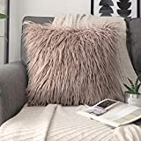Phantoscope Luxury Series Throw Pillow Covers Faux Fur Mongolian Style Plush Cushion Case for Couch Bed and Chair, Beige, 18 x 18 inches, 45 x 45 cm