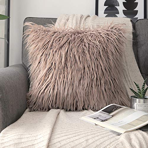 Phantoscope Faux Fur Pillow Cover Decorative Fluffy Throw Pillow Mongolian Soft Fuzzy Pillow Case Cushion Cover for Bedroom and Couch,Beige 18 x 18 Inches